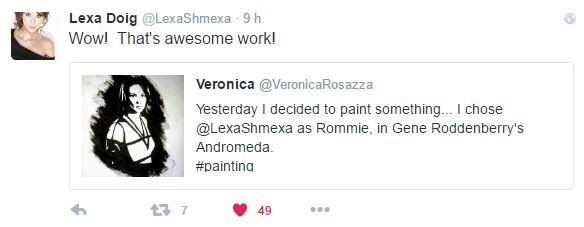 Lexa Doig commenta il suo dipinto realizzato da Veronica Rosazza Prin
